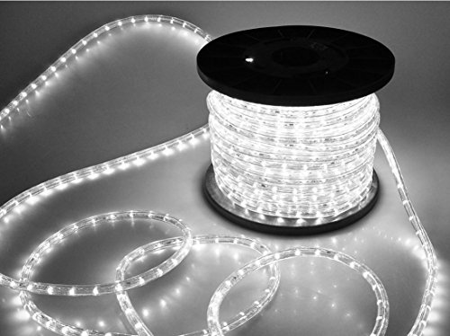 Grandey 32FT 50FT 65FT 98FT 150FT 295FT 2 Wire LED Rope Light Indoor Outdoor Home Holiday Valentines Party Restaurant Cafe Decor GRL-50-CW LED Rope Light (150FT, Cool White) by Grandey