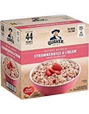 Quaker Instant Oatmeal, Strawberries & Cream, 1.05oz Packets (44 Pack)