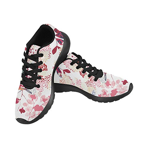 InterestPrint Womens Road Running Shoes Jogging Lightweight Sports Walking Athletic Sneakers Red Leaves Flower