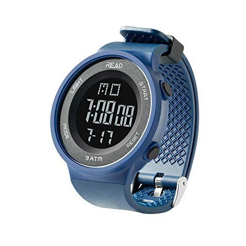 Basic Chronograph Watch - READ Sports Digital Watch for Men Women, Outdoor Military Watches with Alarm, Stopwatch, Calendar, LED Display and Shockproof R90003 (Blue)