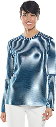 Coolibar UPF 50+ Women's Everyday V-Neck T-Shirt - Sun Protective (Medium- Denim Blue Heather/White Stripe) by Coolibar