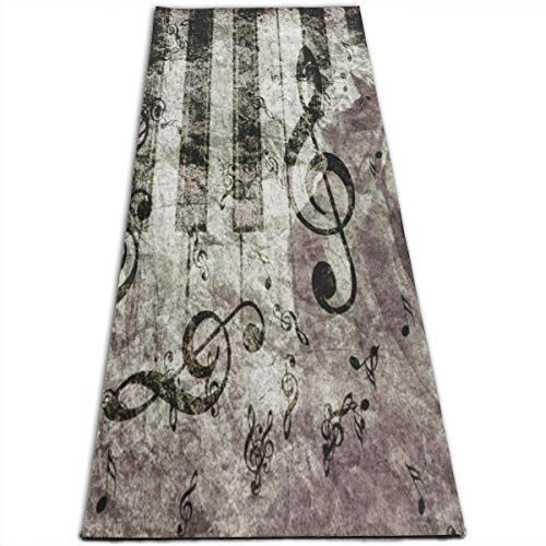 REDCAR Abstract Vintage Piano Rose Yoga Mat-All-Purpose High Density Non-Slip Exercise Stylish Yoga Mats for All Types of Yoga, Pilates & Floor Exercises (70