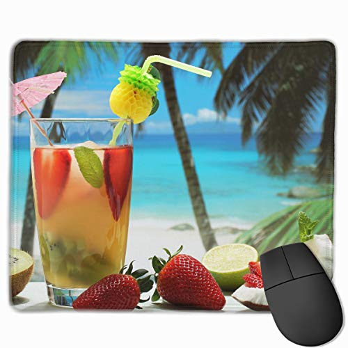 (Non-Slip Rubber Base Mousepad for Laptop Computer PC Personality Designs Gaming Mouse Pad Mat (Fruity Cocktail Photography Art, 11.81 X 9.84)