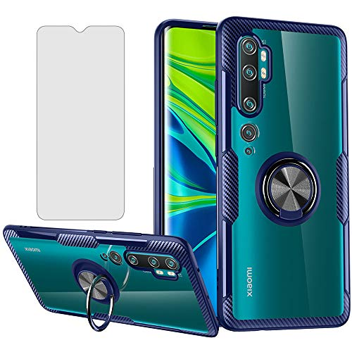 Phone Case for Xiaomi Mi Note 10 with Tempered Glass Screen Protector Clear Cover and Magnetic Kickstand Stand Ring…