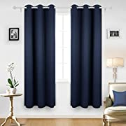 Deconovo Room Darkening Thermal Insulated Blackout Grommet Window Curtain Panels For Bedroom Set of 2 Navy Blue 42x84 Inch