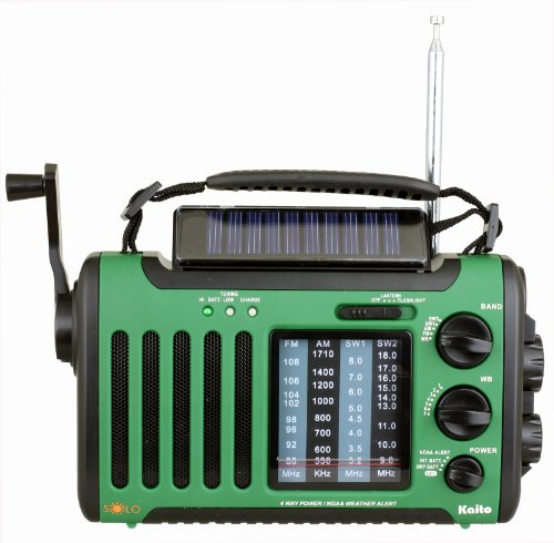 Kaito Voyager Solo KA450 Solar/Dynamo AM/FM//SW & NOAA Weather Emergency Radio with Alert & Cell Phone Charger, Jeep Style,Color Green (Phone Charger Wind)