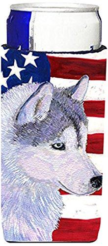 Caroline's Treasures USA American Flag with Siberian Husk...