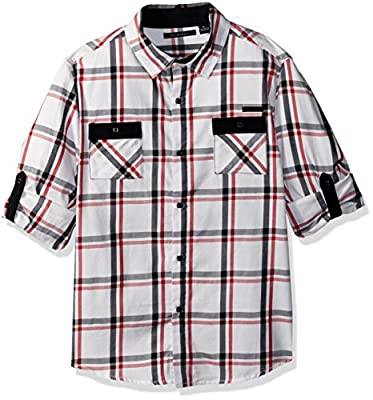 Sean John Boys Harringbone Plaid Long Sleeve Woven Shirt