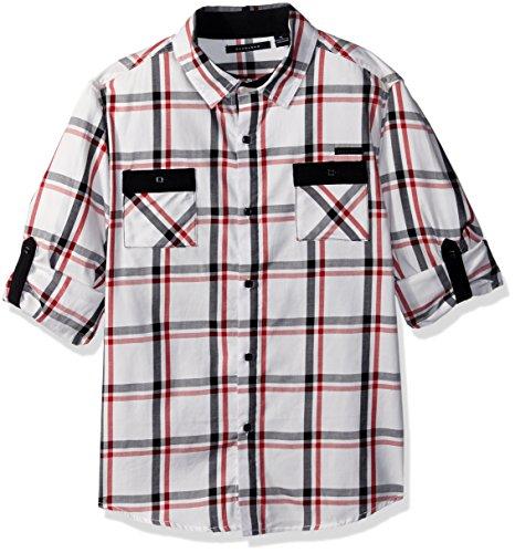 Sean John Big Boys' Harringbone Plaid Long Sleeve Woven Shirt, Multi, XL ()