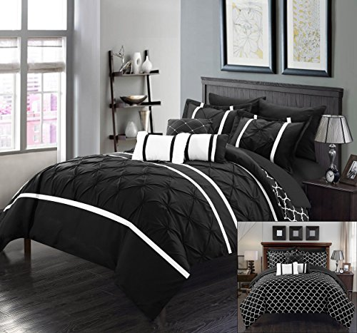 Perfect Home 10 Piece Brian Pinch Pleated Ruffled and Reversible Geometric Design Printed King Bed In a Bag Comforter Set Black with Sheet Set