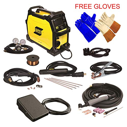 ESAB Rebel EMP 215ic MIG/Stick/Tig Welding Machine w/ Foot Control, 2 Gloves (Esab Tig Welder)