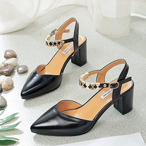 Versatile e cavo ruvida la con del con Heeled scarpe Black selvaggia luce 36 la marea di una High nella punta n7Ta06wwq
