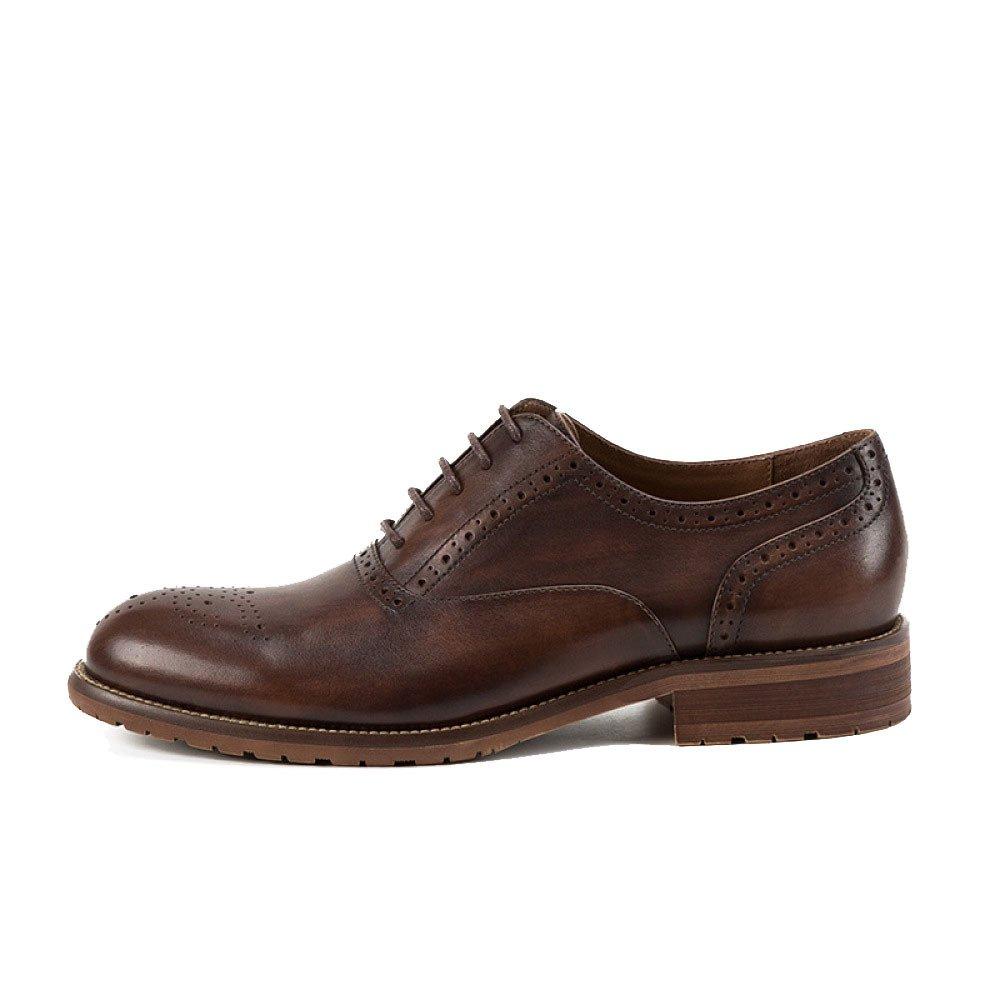 LYZGF Hombre Caballero Casual Business Fashion Bullock Tallado Zapatos De Cuero De Encaje De Boda Handcraft 38 EU|Coffeecolor