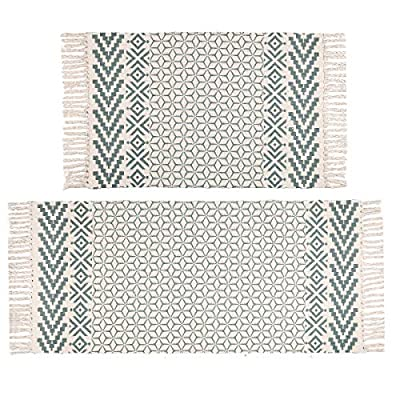 Pauwer Cotton Area Rug Set 2 Piece Washable Printed Cotton Rugs with Tassel Hand Woven Fringe Cotton Rug Runner for Kitchen, Living Room, Bedroom, Laundry Room, Entryway - Hand Woven Cotton Area Rug Set 2 Piece, includes one long cotton rug runner measures 2'x4.2' and a small cotton area rug measures 2'x3'. Accent Cotton Rug: Great water absorption, not only protect your floors from moisture, stains and scratches, but also match all themed room decor. Printed Tassel Cotton Rug: Classic geometric Print, also with decorative tassel fringe on both ends, make a perfect indoor throw rug, kitchen floor rug, meditation mat, bathroom rug runner, door mat, small area rug, laundry room rug, bedside rug, picnic throw and entryway rug. - runner-rugs, entryway-furniture-decor, entryway-laundry-room - 51lsGyIaRoL. SS400  -