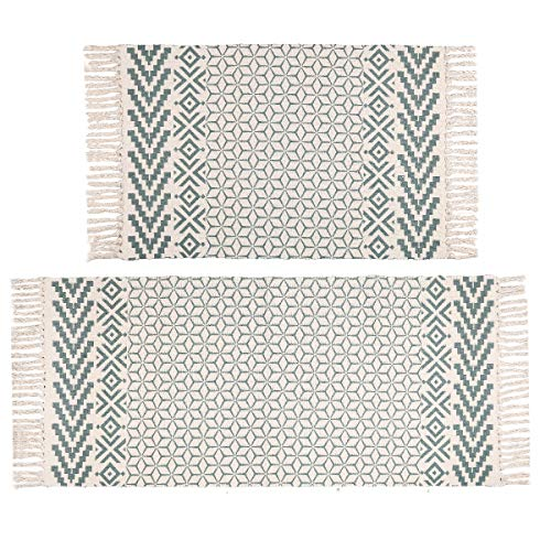 Pauwer Cotton Area Rug Set 2 Piece Washable Printed Cotton Rugs with Tassel Hand Woven Fringe Cotton Rug Runner for Kitchen, Living Room, Bedroom, Laundry Room, Entryway (Runner Rug Woven)