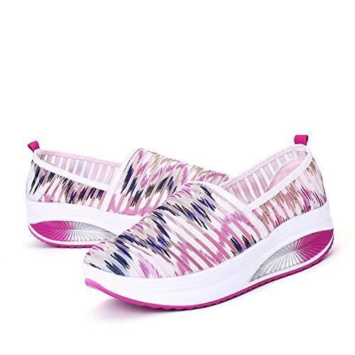Cyber respirant Maille Exercice Chaussures De Marche Confort Slip Sur Wedges Espadrilles De Plate-forme Pour Les Femmes Rose