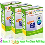 Baby Bathing Diaper Refill Bags with Toss and Hassle Free Blue Bags Green Ring,1050 Count Pail Snap Seal Disposal Diaper Bags (105)