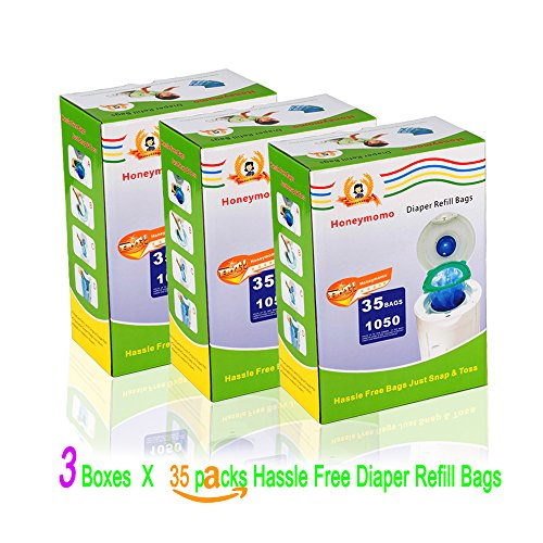 105 Pack 3150 Count With Three Boxes Diaper Refill Bags With Toss and Hassle Free Blue Bags Green Ring,1050 Count Diaper Pail Snap Seal Disposal by Mushle