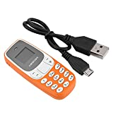 Mini Mobile Phone Tiny Cell Phone Bluetooth Dialer Phone GSM Dual SIM Card(Orange)