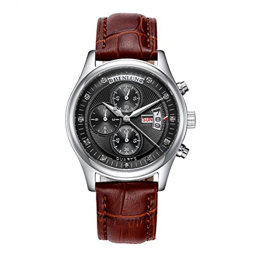 Binlun Outdoor Versatile Column Wheel Chronograph Black Dial Brown Band Wristwatch Week and Date for Man