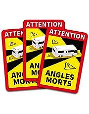 Obs! Angles Morts klistermärken 25 x 17 cm för fordon, obligatoriskt från 3,5 t i Frankrike, varningsklistermärken för döda vinkeln, självhäftande, uv-resistenta, väderbeständiga, R145 (husbil, 3 stycken)