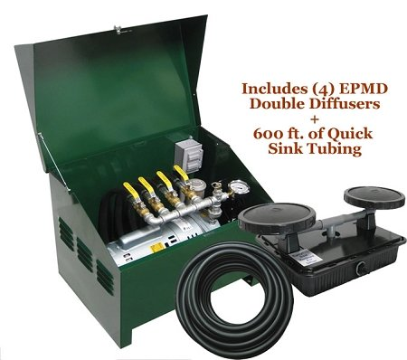 Deluxe Rotary Vane Pond Aeration System Complete PA75D 3/4HP includes Locking Cabinet by EasyPro Pond Products