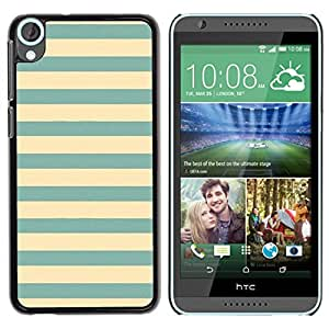 Amarillas del trullo verdes azules Vignette Líneas- Metal de aluminio y de plástico duro Caja del teléfono - Negro - HTC Desire 820