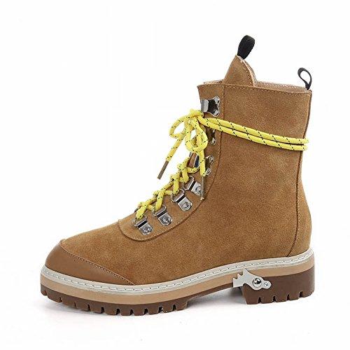 EUR35 Botas amarillo Suave Martin Fondo Plano con Botas de Cuero de de Mate Botas Mujer 1w64q81