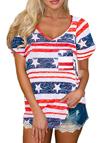 Womens Pocket Casual Patriotic Tops Loose Fit V Neck American Flag Short Sleeve Shirt Stripe & Star L