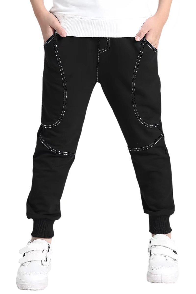 AOWKULAE Boys Cotton Fleece Active Pull On Joggers Pants Sweatpants Black, Age 5T-6T (5-6 Years) = Tag 130