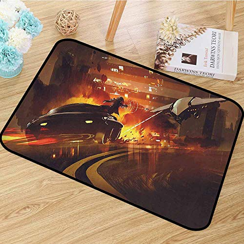 Halloween 5 Car Chase Scene (Modern Decor Area Rug Outer Space Chase Scene of a Shuttle Aeroplane and a Car Fire on Road Artwork Anti-Static W59 x L82)