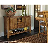 Wood Buffet Sideboard With Storage Cabinet And Lower Wine Bottle Shelf, Open Cubbies Space, Adjustable Shelf, Wine Rack, Perfect For Dining Room, Kitchen, Home Furniture, Light Brown + Expert Guide