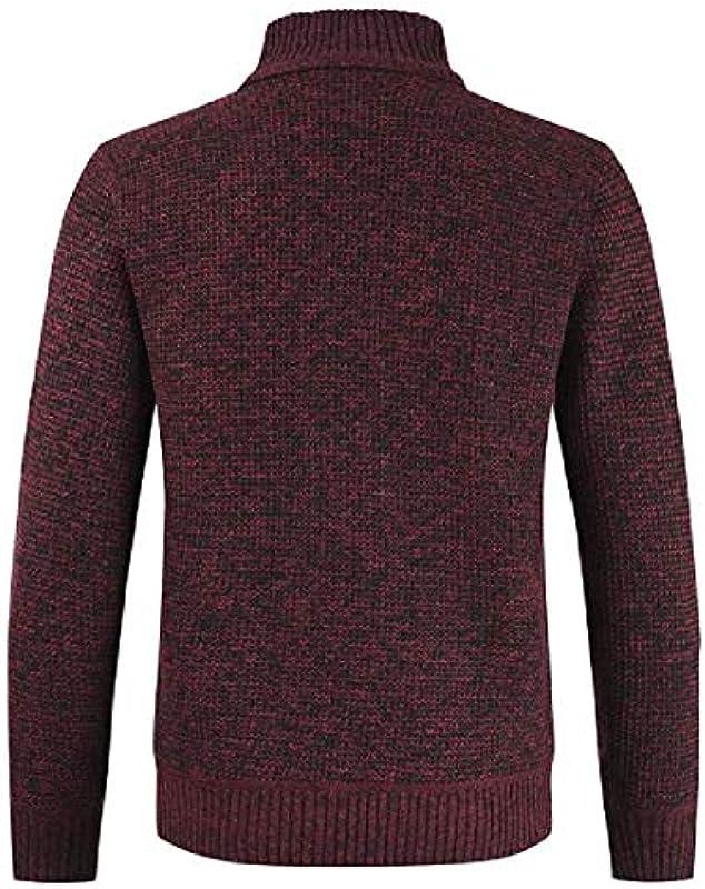 MU2M Men's Patchwork Full Zip Open Front Knit Stand Collar Winter Cardigan Coat: Odzież