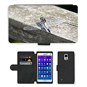 Super Stella Cell Phone Card Slot PU Leather Wallet Case // M00104009 Dragonfly Insect Wings Wildlife // Samsung Galaxy Note 4 IV