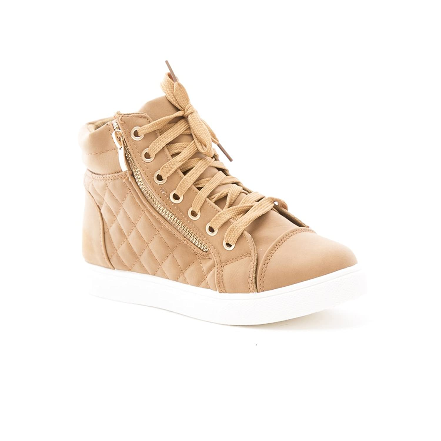 Soho Shoes Women's Leatherette Quilted Zipper Lace Up High Top Sneakers by Soho Shoes