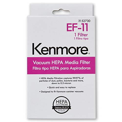 Kenmore 52730 EF-11 HEPA Media Vacuum Cleaner Exhaust Air Filter for Upright and Canister Vacuum Cleaners, 1 Pack (Vacuum Cleaner Hepa Kenmore)