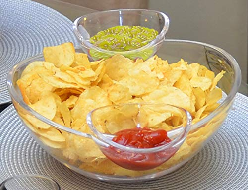 Chips and Dips Bowl 3pc Set - Generously sized bowl and 2 detachable cups for...
