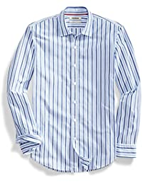 Men's Slim-Fit Long-Sleeve Two-Color Stripe Shirt