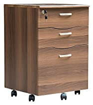 Merax 3-Drawer File Cabinet Moblie Storage Cabinet No Assembly Needed, Espresso