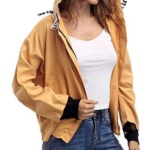 Moda con Elegantes Grün Estilo Chaqueta Windbreaker Cremallera Capucha Otoño Anchos Manga Outdoor Abrigos con Mujer Primavera Cazadoras Especial Outerwear Larga HXHPqR