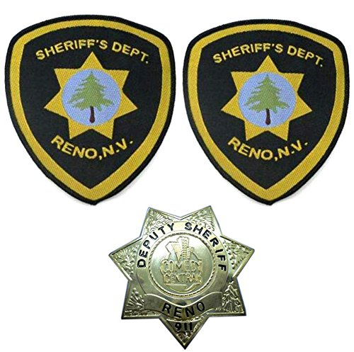 Reno 911 Deputy Sheriff Star Badge + Dept Shoulder Patch 2 Central Comedy Police (Patch Dept Police)