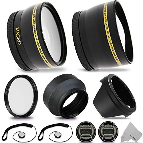 52mm Lens Accessories Kit with 52mm 2X Telephoto Lens Hood, 52mm Wide Angle Lens, Lens Hood + More for for 52mm Lenses and Cameras Including Nikon D5600, D850, D3400, D7500, D750, D500, D7200, D5500
