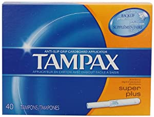 TAMPAX Super Plus Cardboard Applicator Unscented Tampons 40 Count