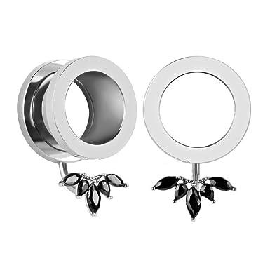 72643816d Amazon.com: VanKula Ear Gauges Plugs Stainless Steel Concealed Petal  Pendant Screw Fit Tunnels Piercings (00g(10mm)): Jewelry