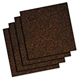 Quartet Cork Tiles, 12'' x 12'', Corkboard, Mini Wall Bulletin Boards, Dark, 4 Pack (101)