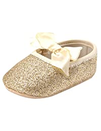 Baby Girls Ribbon Shoes Sparkly Mary Jane Sequins Bling Antislip Soft Crib Shoes