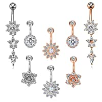 FIBO STEEL 4-16 Pcs 14G Dangle Belly Button Rings for Women Girls Navel Barbell Body Jewelry Piercing 14G