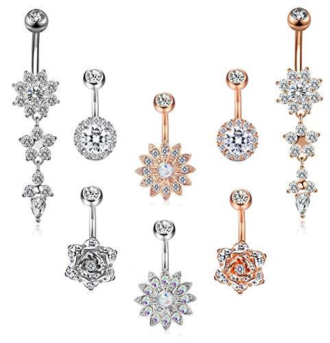 FIBO STEEL 8 Pcs Dangle Belly Button Rings for Women Girls Navel Barbell Body Jewelry Piercing 14G
