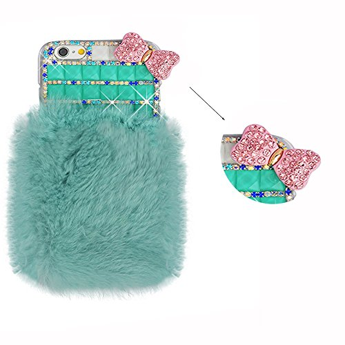 0071 Cherry (Spritech(TM) iPod touch 5/ipod touch 6 Phone Clear Case,Green Bling 3D Handmade Crystal Green Fur Design Hard Smartphone for iPod touch 5/ipod touch 6)