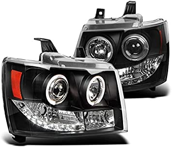 07-13 CHEVY AVALANCHE//SUBURBAN//TAHOE DRL LED HALO SMOKE PROJECTOR HEAD LIGHT+FOG